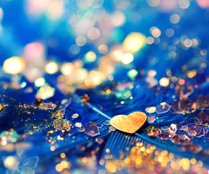 heart, blue, and glitter image