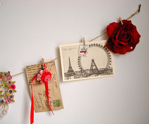rose, paris, and postcard image