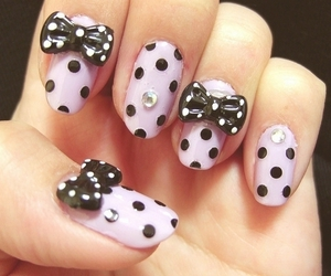nails, bow, and pink image