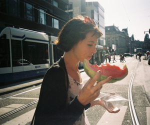 girl, watermelon, and city image