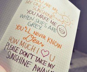 sunshine, quote, and Lyrics image