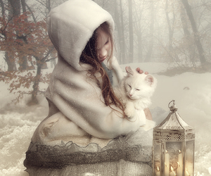 cat, girl, and snow image