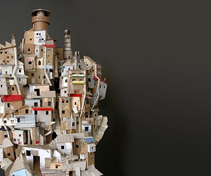 cardboard, house, and sculpture image