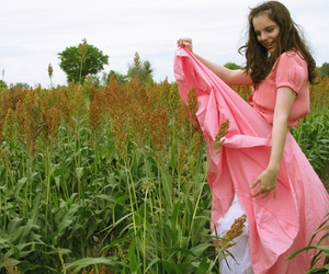 girl field happy dress pink photography image