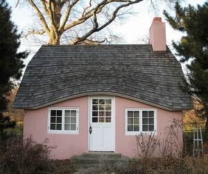 house, pink, and cottage image