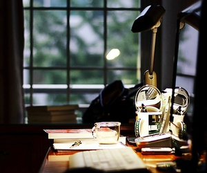 desk, study, and lamp image
