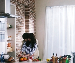 couple, boy, and kitchen image