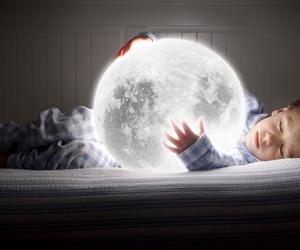 moon, boy, and kids image
