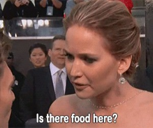 Jennifer Lawrence, food, and funny image
