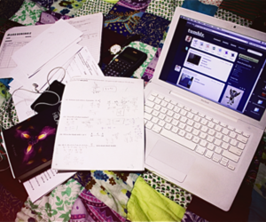 college, homework, and laptop image