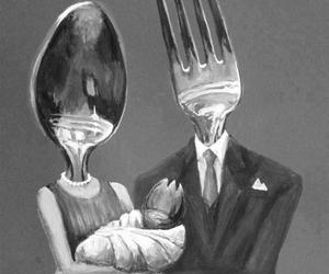 family, fork, and spoon image