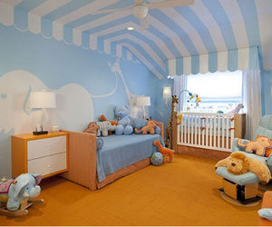 baby, bed, and blue image