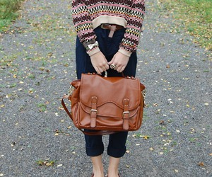 satchel, winter, and print sweater image