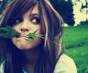 girl, funny, and grass image