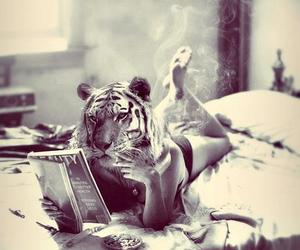 tiger, girl, and smoke image