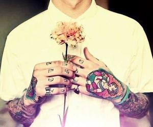tattoo, boy, and flowers image