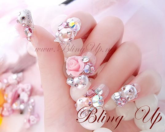Silver Glitter French Nail Tips With Japanese 3d Roses Nail Art