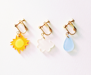 earrings, white, and rain image
