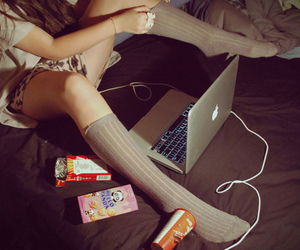 girl, apple, and laptop image