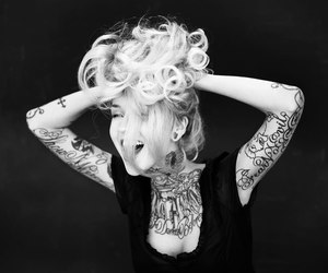 tattoo, black and white, and hair image