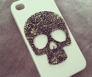 skull, iphone, and case image