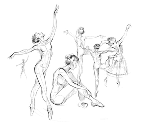 art, ballerina, and draw image