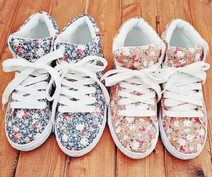 shoes, flowers, and sneakers image