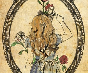 alice, alice in wonderland, and rose image