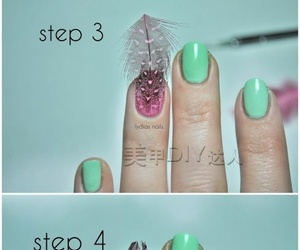 nails, feather, and diy image