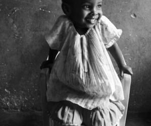 child, smile, and black and white image
