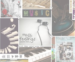 earphones, feelings, and guitar image