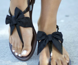 shoes, sandals, and bow image