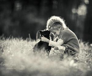 cat, black and white, and child image