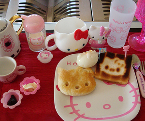 hello kitty, pink, and breakfast image