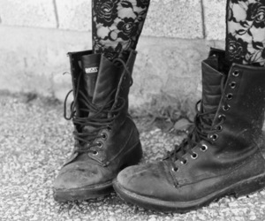 boots, shoes, and black and white image