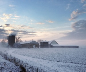barn, farm, and winter image