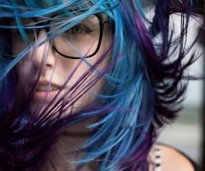 hair, blue, and glasses image