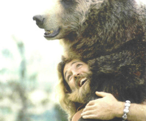 bear, animal, and man image