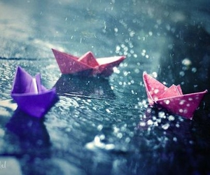 chuva, paper boat, and purple image