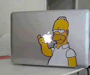 apple, homer, and simpsons image