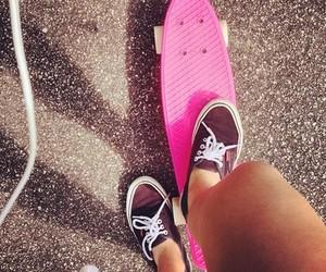 pink, vans, and skate image