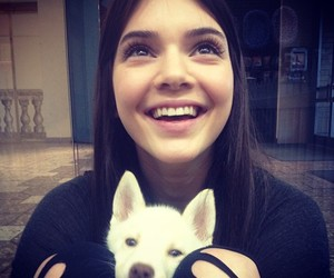 kendall jenner, dog, and puppy image