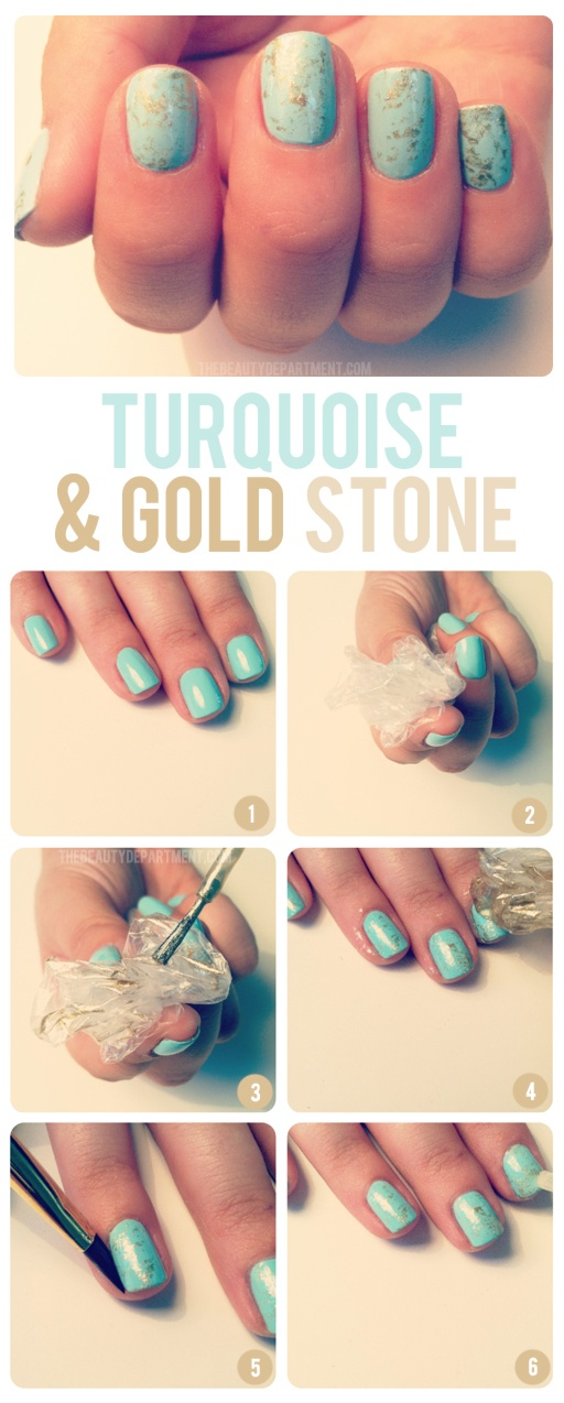Nail Design Turquoise Gold Stone On We Heart It