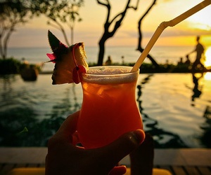 drink, summer, and sunset image
