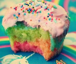 cupcake, rainbow, and food image