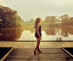 girl, dock, and lake image