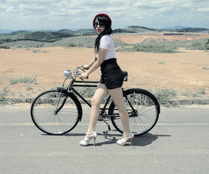 bike, girl, and black hair image