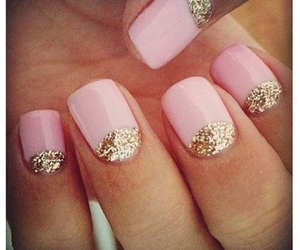 nails, pink, and gold image