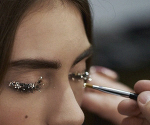 girl, eyes, and glitter image