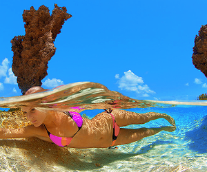 bikini, blonde, and coral image